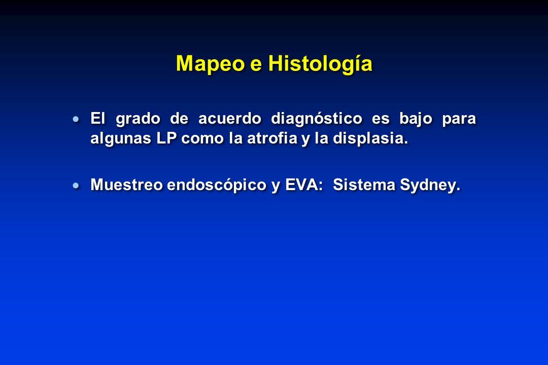 Mapeo e Histología El grado de acuerdo diagnóstico es bajo para algunas LP como la atrofia y la displasia.