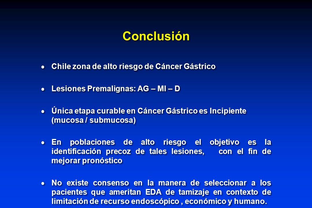 Conclusión Chile zona de alto riesgo de Cáncer Gástrico