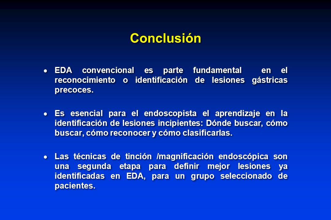 Conclusión EDA convencional es parte fundamental en el reconocimiento o identificación de lesiones gástricas precoces.