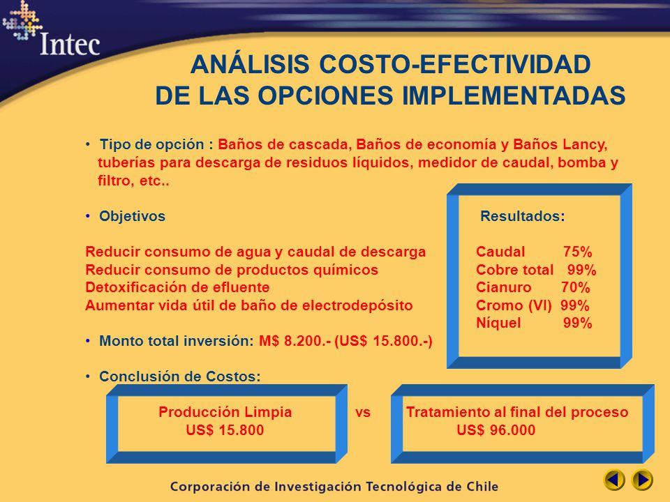 ANÁLISIS COSTO-EFECTIVIDAD DE LAS OPCIONES IMPLEMENTADAS