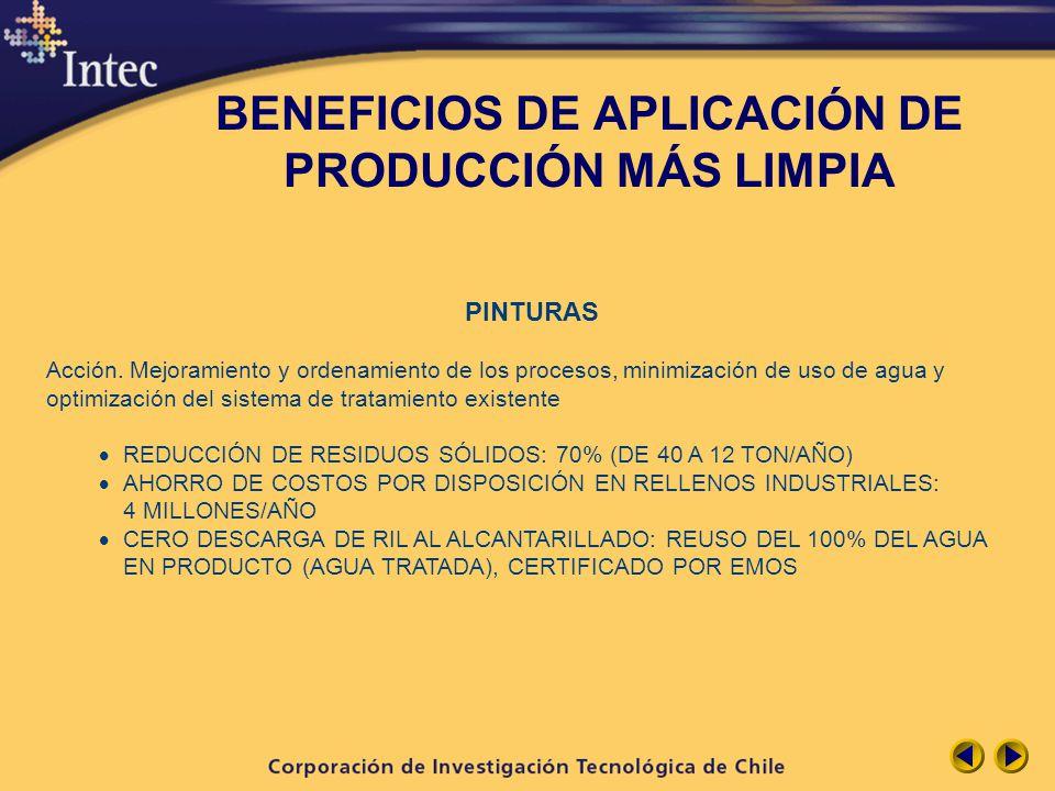 BENEFICIOS DE APLICACIÓN DE PRODUCCIÓN MÁS LIMPIA