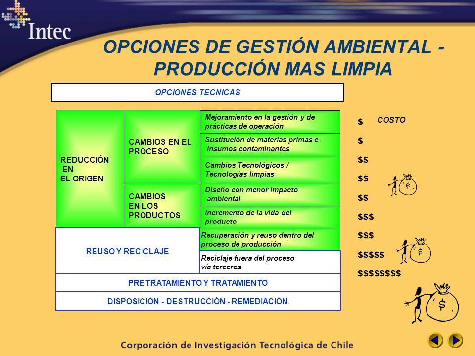 OPCIONES DE GESTIÓN AMBIENTAL - PRODUCCIÓN MAS LIMPIA