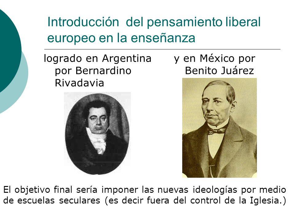 Introducción del pensamiento liberal europeo en la enseñanza