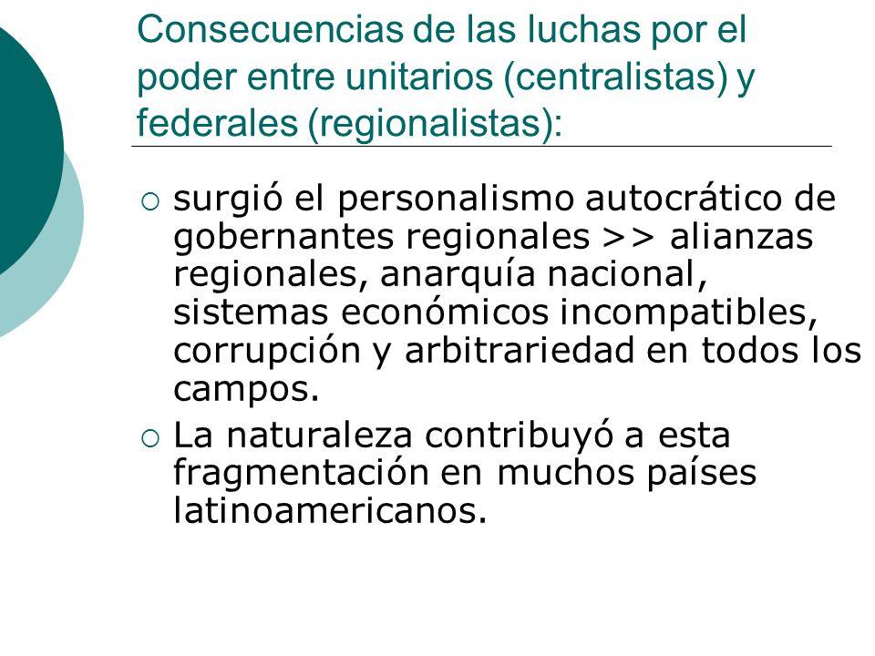 Consecuencias de las luchas por el poder entre unitarios (centralistas) y federales (regionalistas):