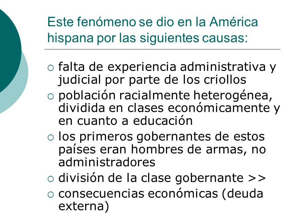 Este fenómeno se dio en la América hispana por las siguientes causas: