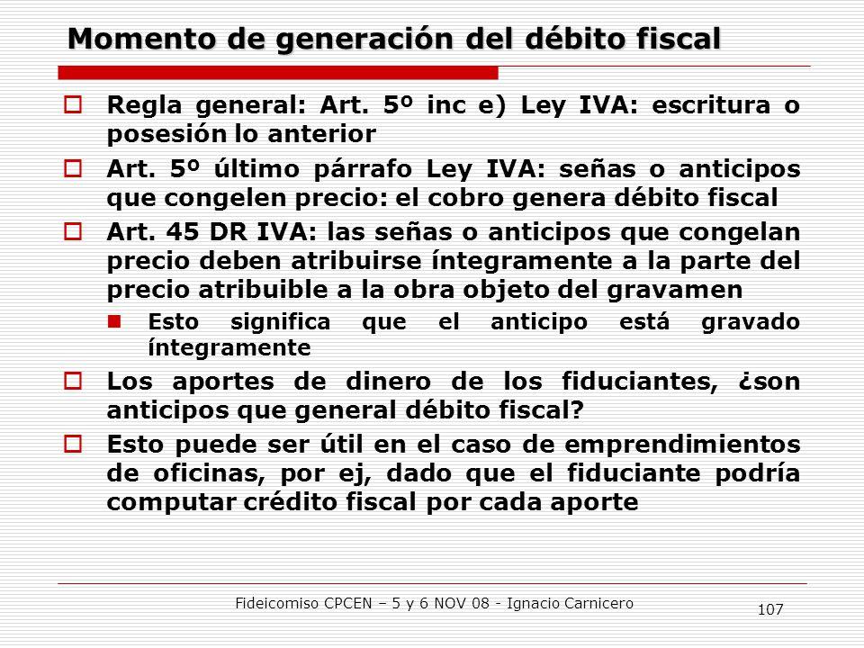 Momento de generación del débito fiscal