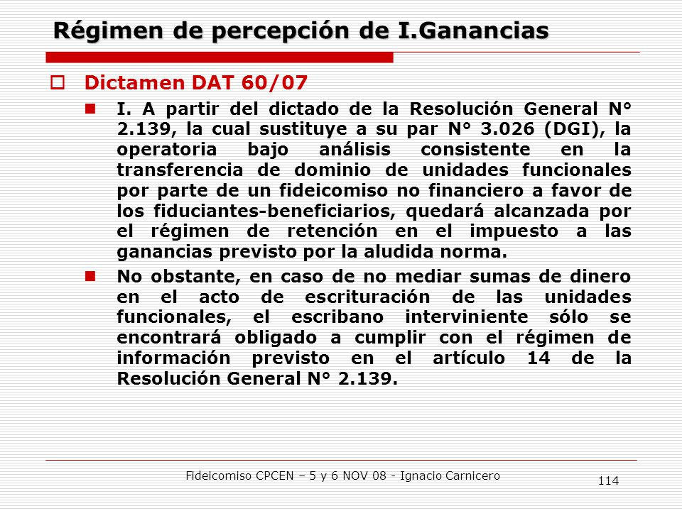 Régimen de percepción de I.Ganancias