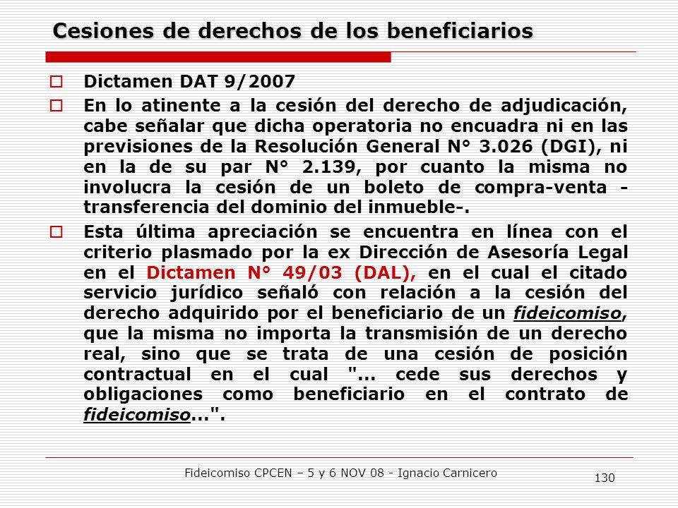 Cesiones de derechos de los beneficiarios