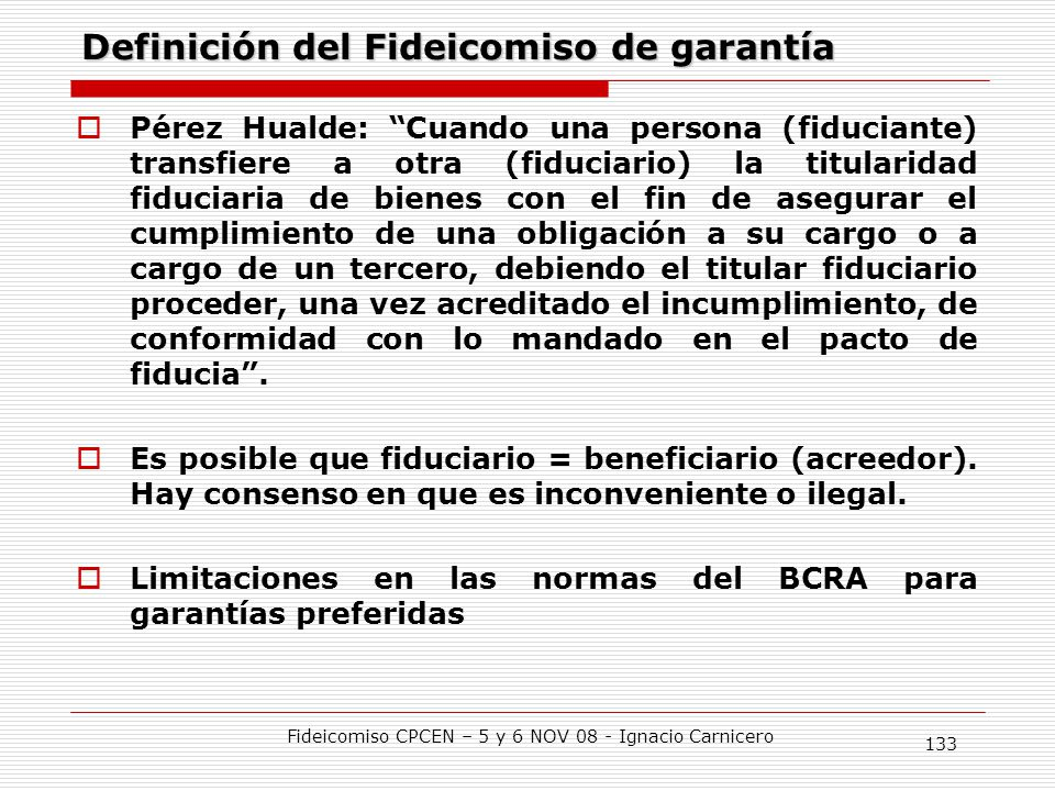 Definición del Fideicomiso de garantía