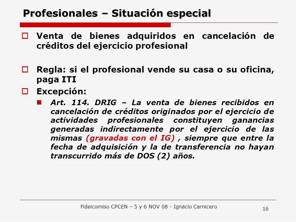 Profesionales – Situación especial
