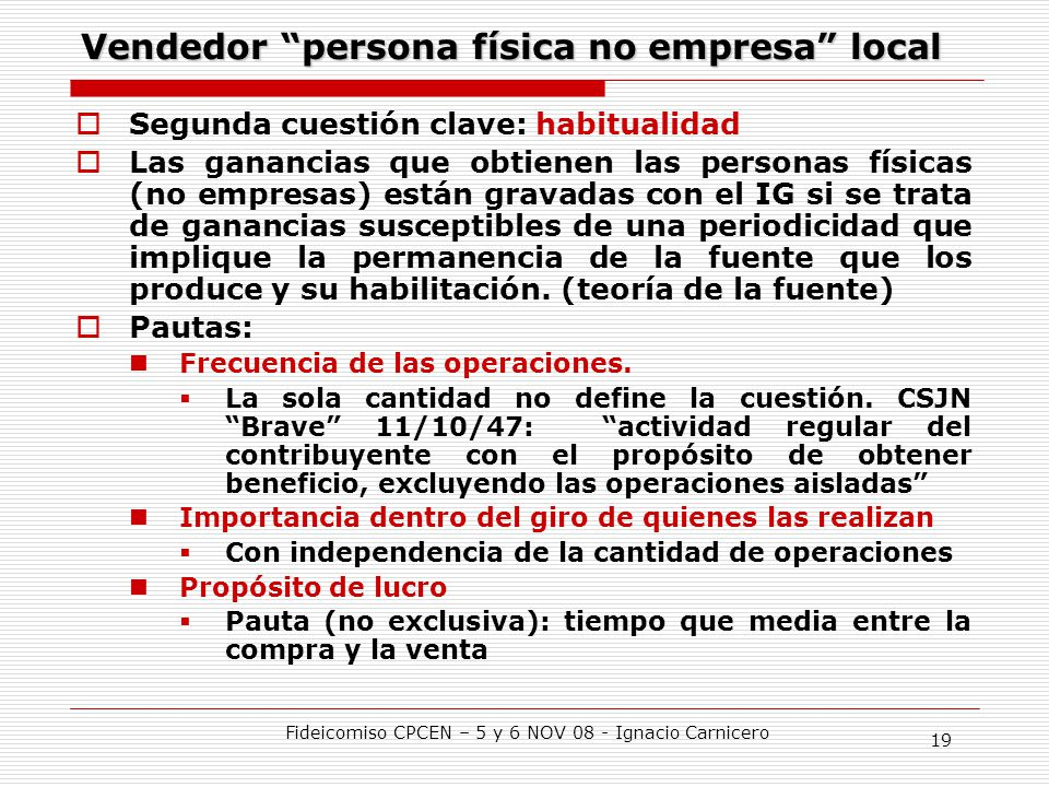 Vendedor persona física no empresa local