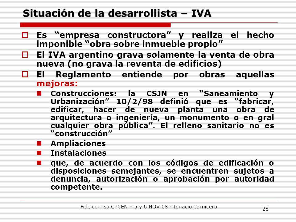 Situación de la desarrollista – IVA