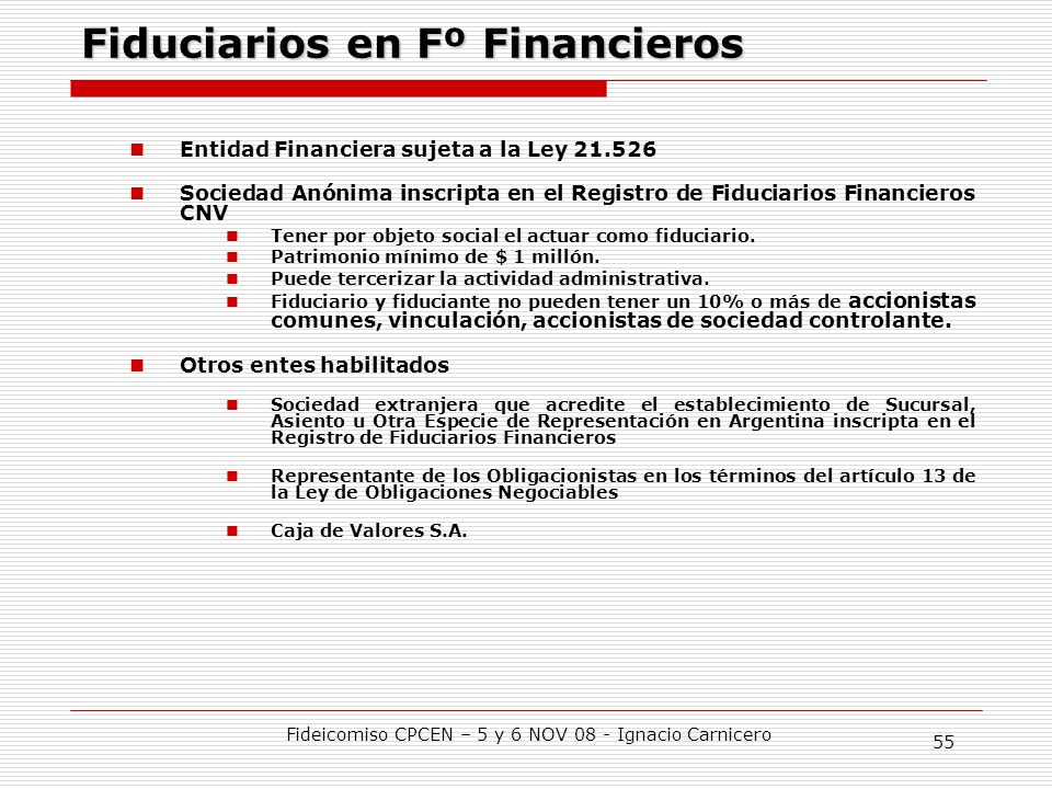 Fiduciarios en Fº Financieros