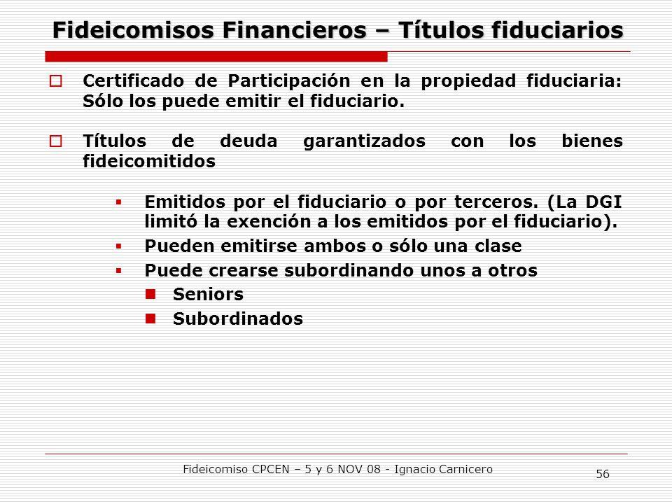 Fideicomisos Financieros – Títulos fiduciarios