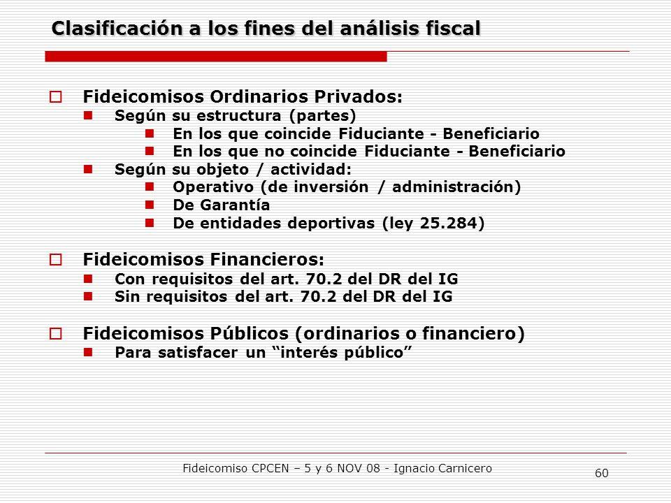 Clasificación a los fines del análisis fiscal