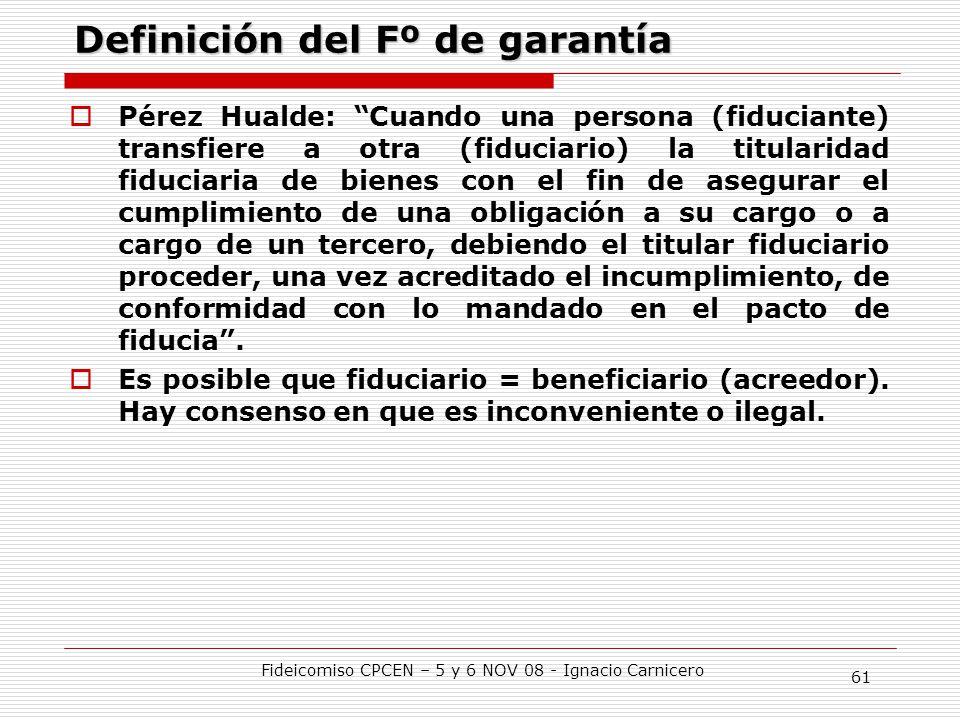Definición del Fº de garantía