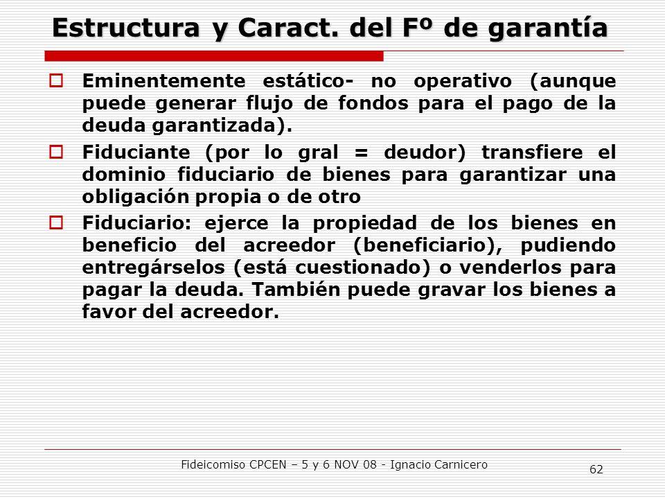 Estructura y Caract. del Fº de garantía