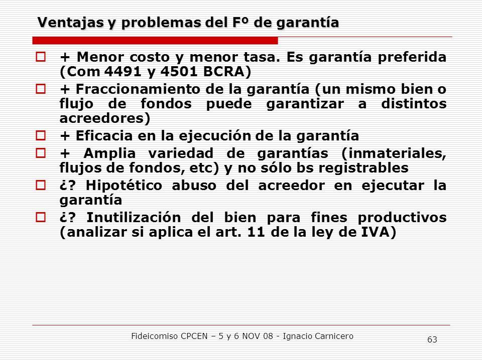 Ventajas y problemas del Fº de garantía