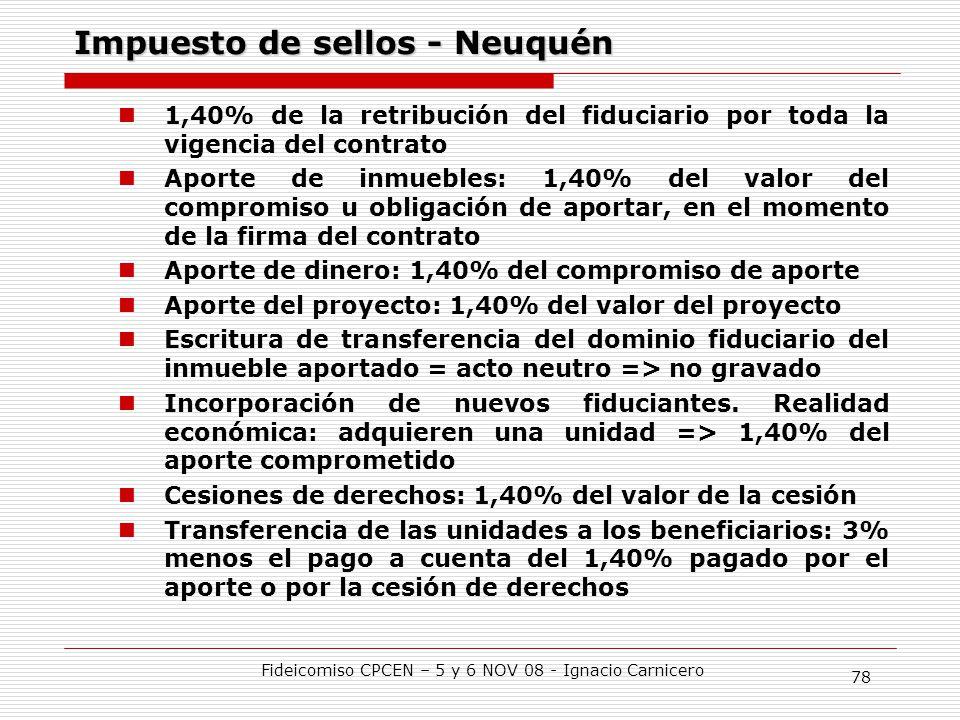 Impuesto de sellos - Neuquén