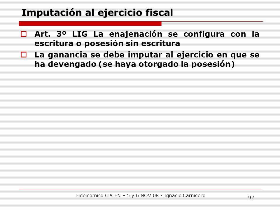 Imputación al ejercicio fiscal