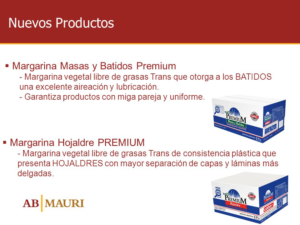 Nuevos Productos Margarina Masas y Batidos Premium