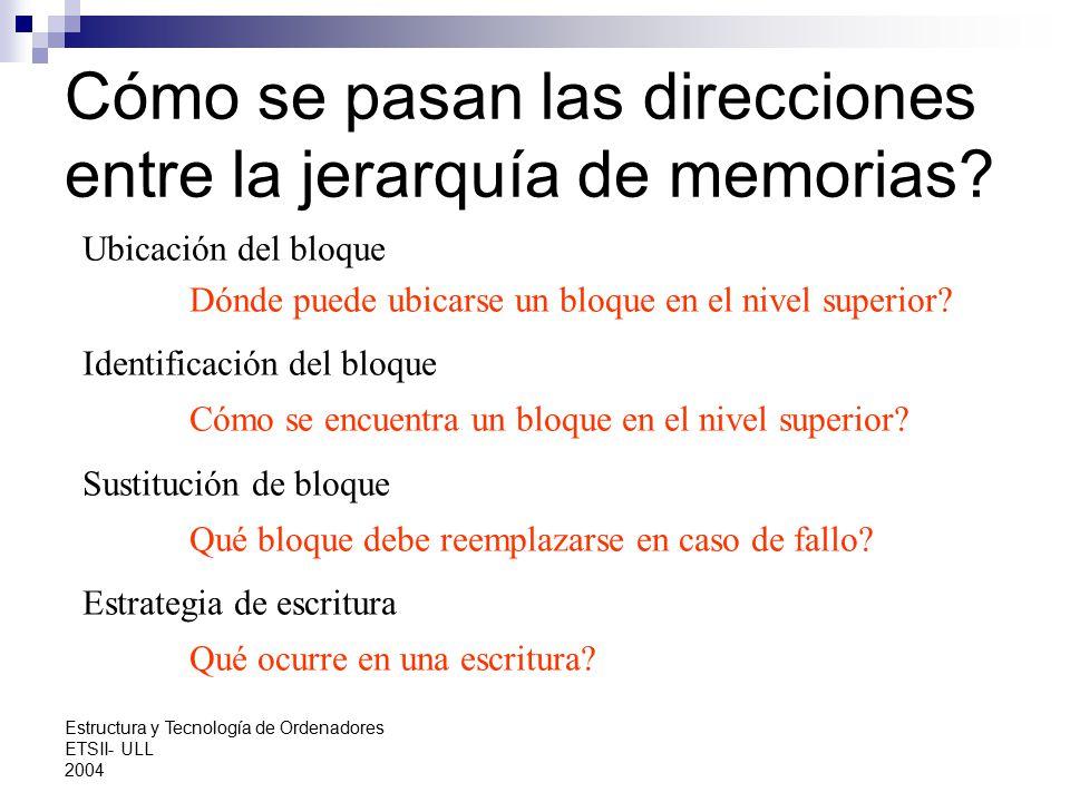Cómo se pasan las direcciones entre la jerarquía de memorias