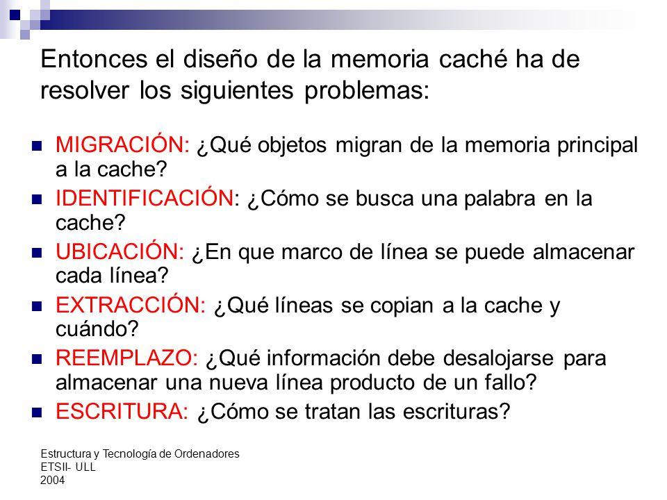 Entonces el diseño de la memoria caché ha de resolver los siguientes problemas: