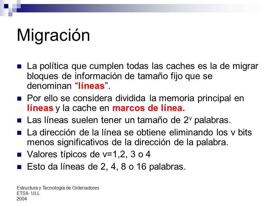 Migración La política que cumplen todas las caches es la de migrar bloques de información de tamaño fijo que se denominan líneas .