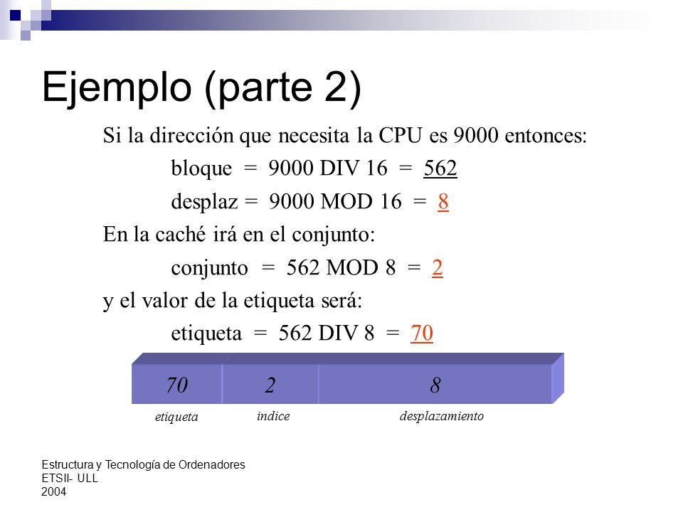 Ejemplo (parte 2) Si la dirección que necesita la CPU es 9000 entonces: bloque = 9000 DIV 16 = 562.