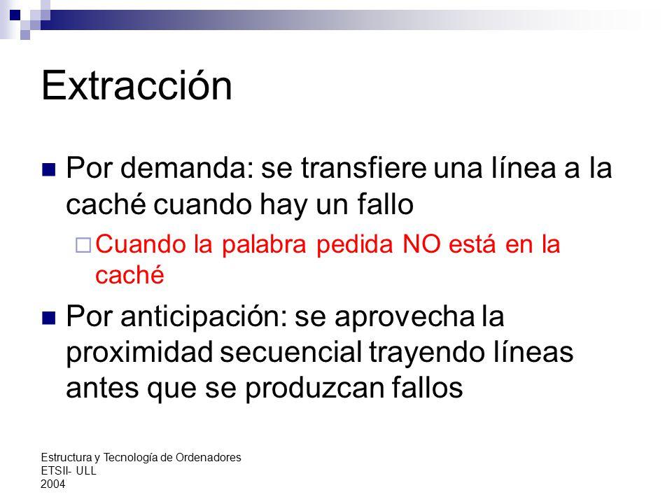 Extracción Por demanda: se transfiere una línea a la caché cuando hay un fallo. Cuando la palabra pedida NO está en la caché.