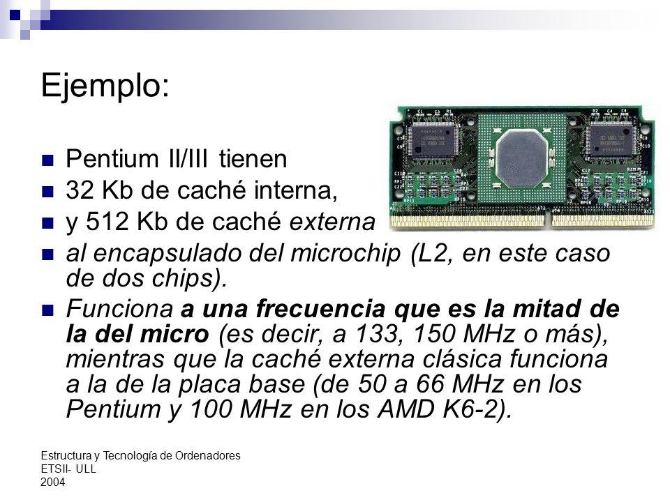 Ejemplo: Pentium II/III tienen 32 Kb de caché interna,