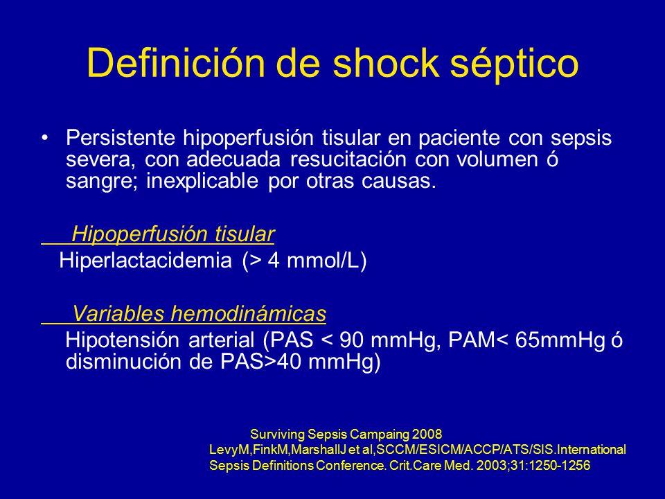 Definición de shock séptico