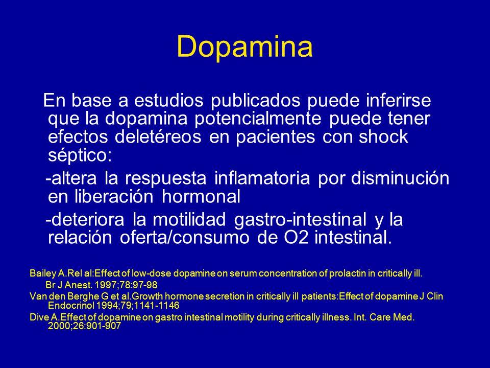 Dopamina En base a estudios publicados puede inferirse que la dopamina potencialmente puede tener efectos deletéreos en pacientes con shock séptico: