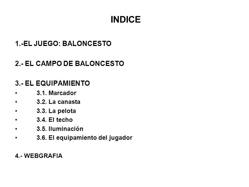 INDICE 1.-EL JUEGO: BALONCESTO 2.- EL CAMPO DE BALONCESTO