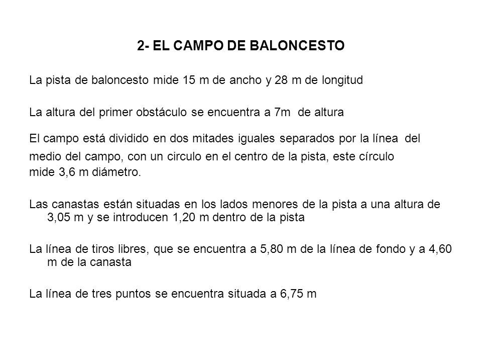2- EL CAMPO DE BALONCESTO