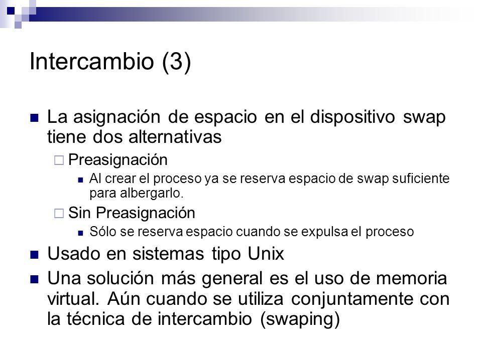 Intercambio (3) La asignación de espacio en el dispositivo swap tiene dos alternativas. Preasignación.
