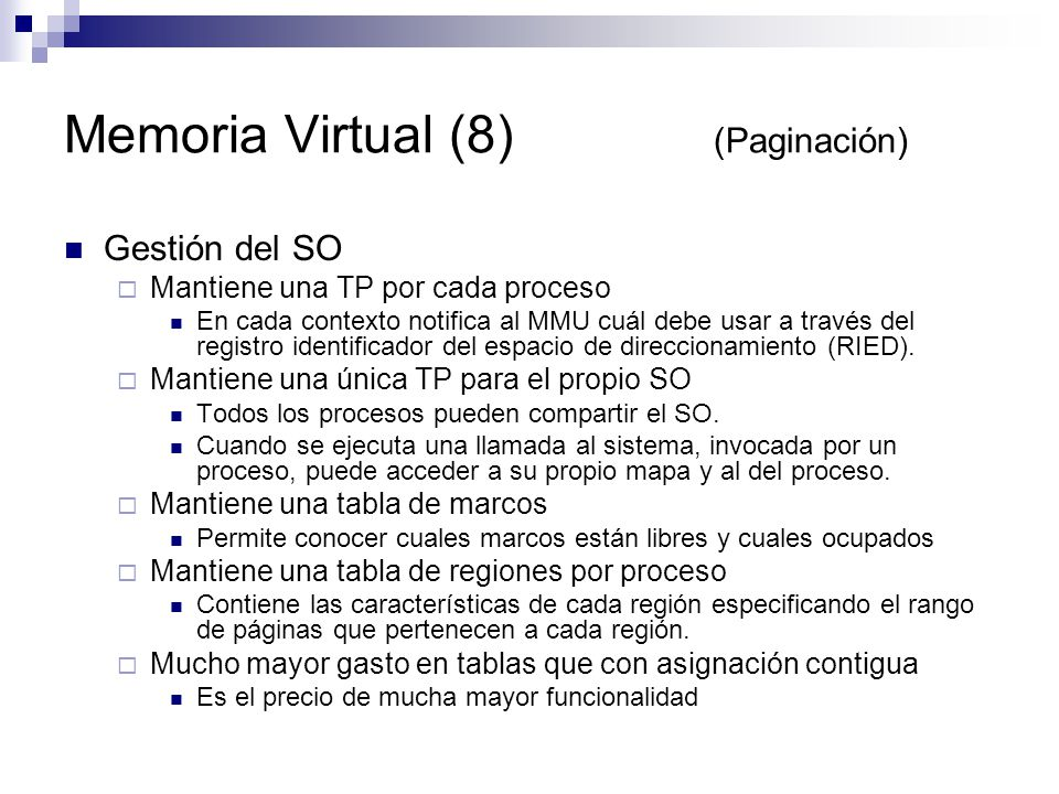 Memoria Virtual (8) (Paginación)