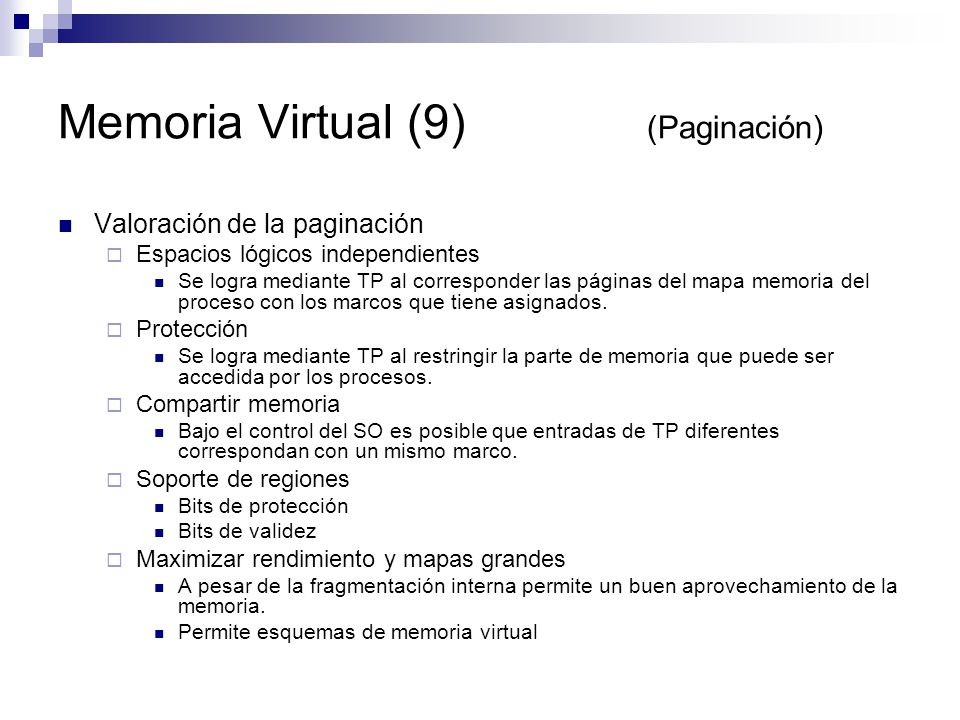 Memoria Virtual (9) (Paginación)