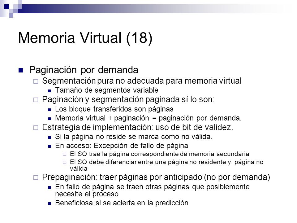 Memoria Virtual (18) Paginación por demanda