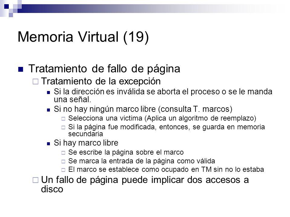 Memoria Virtual (19) Tratamiento de fallo de página