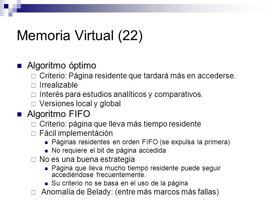 Memoria Virtual (22) Algoritmo óptimo Algoritmo FIFO
