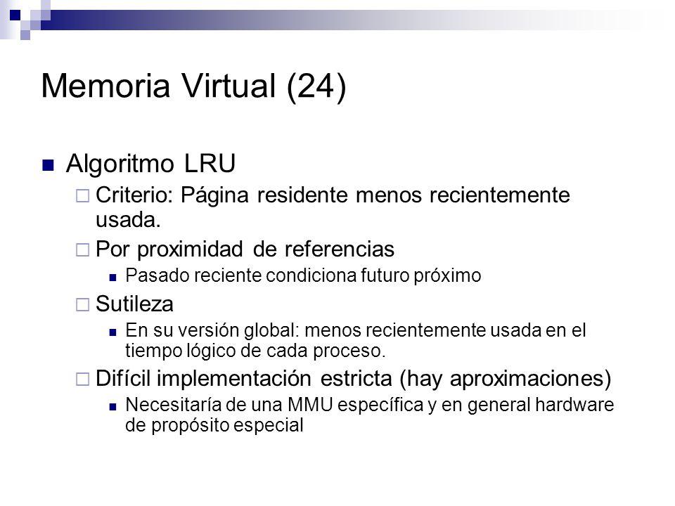 Memoria Virtual (24) Algoritmo LRU