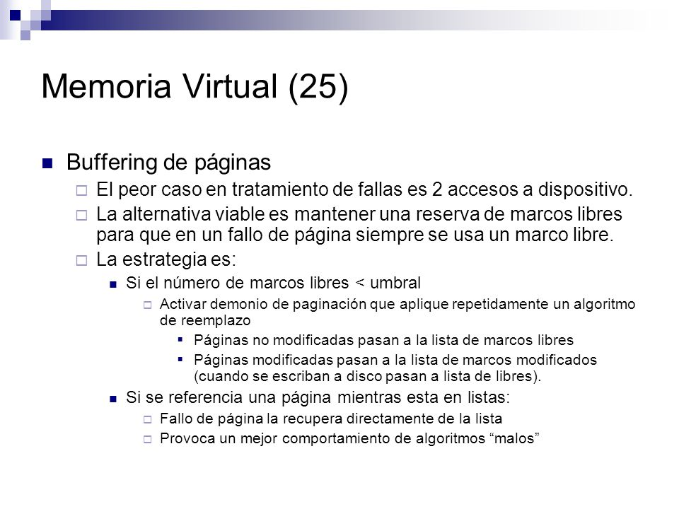 Memoria Virtual (25) Buffering de páginas