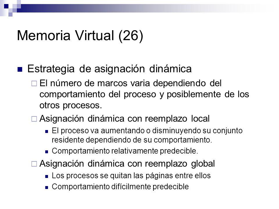 Memoria Virtual (26) Estrategia de asignación dinámica