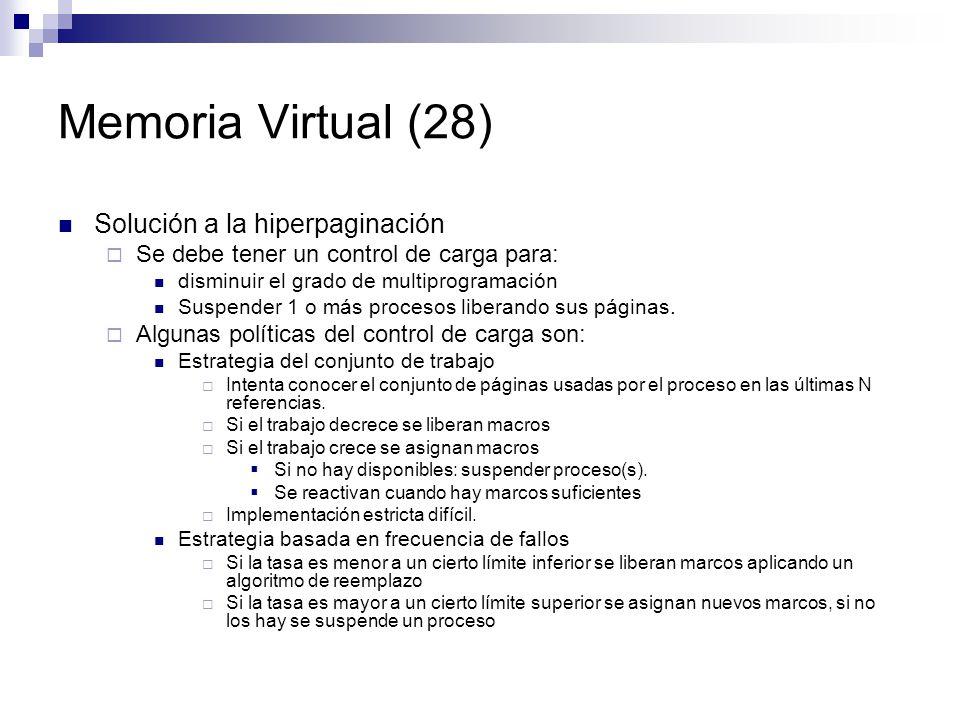 Memoria Virtual (28) Solución a la hiperpaginación
