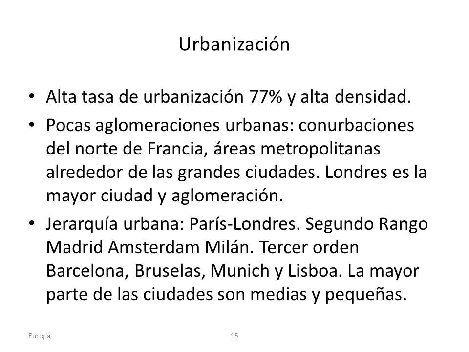 Urbanización Alta tasa de urbanización 77% y alta densidad.