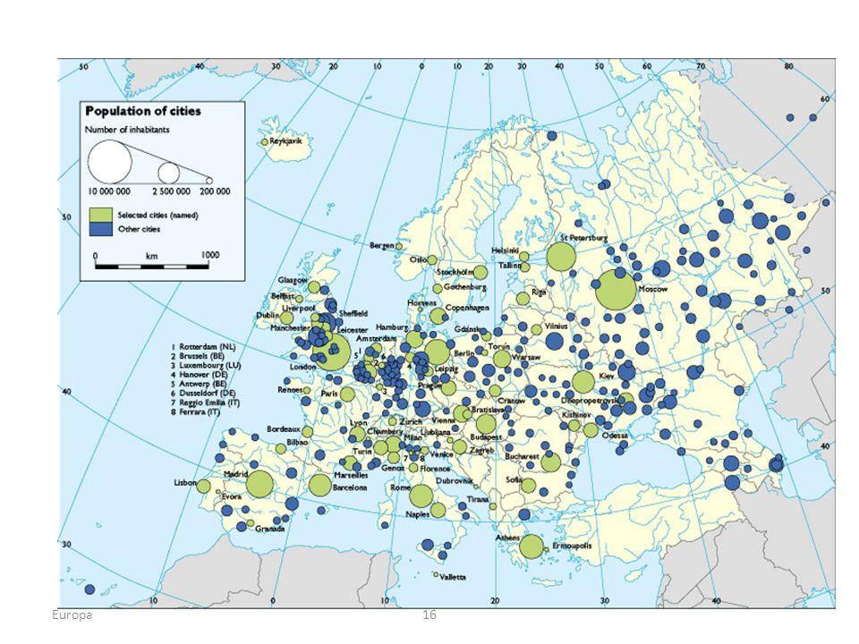 Población y ciudades Europa