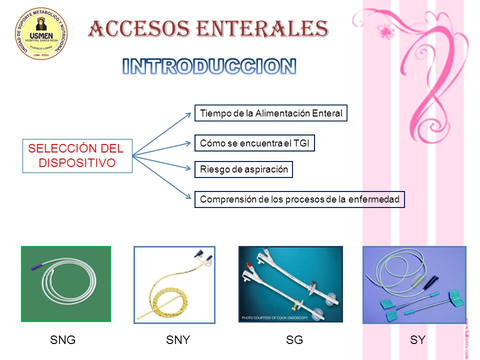 ACCESOS ENTERALES INTRODUCCION SELECCIÓN DEL DISPOSITIVO SNG SNY SG SY