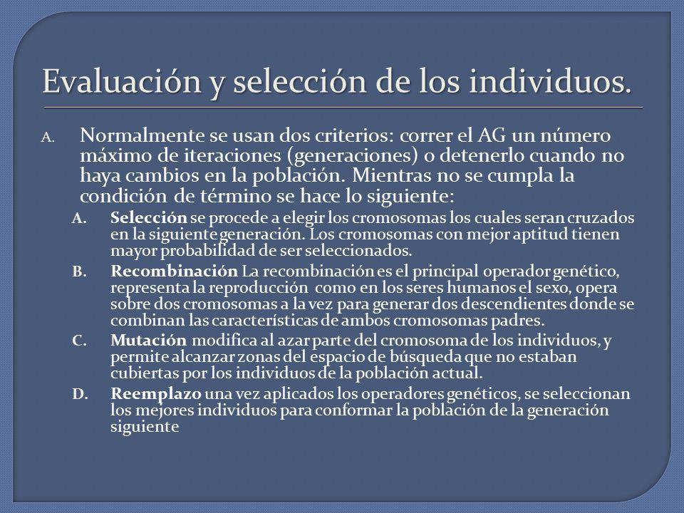 Evaluación y selección de los individuos.