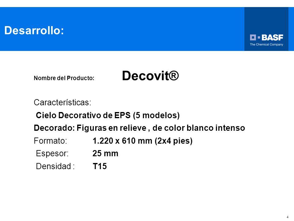 Desarrollo: Características: Cielo Decorativo de EPS (5 modelos)